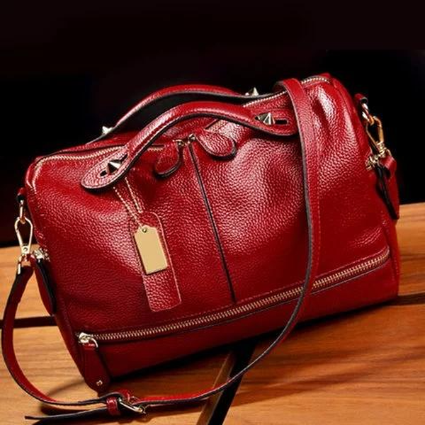 Cowhide PU Leather Handbag Multi Pockets Crossbody Bag