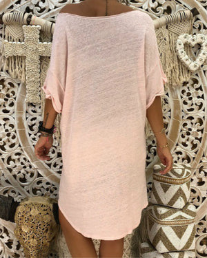 Women Crew Neck Short Sleeve Casual Solid Summer Dress