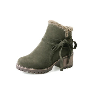 Female Winter Shoes Fur Warm Snow Boots Chunky Heels Ankle Boots
