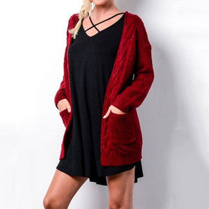 Women Cozy Long Cardigan With Pockets