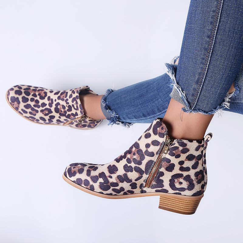 03d7404a8365 Women s Fashion Vintage Chunky Low Heel Short Boot Ankle Booties