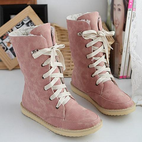 Winter/Fall Flat Heel Casual Plus Size Lace Up Women Boots