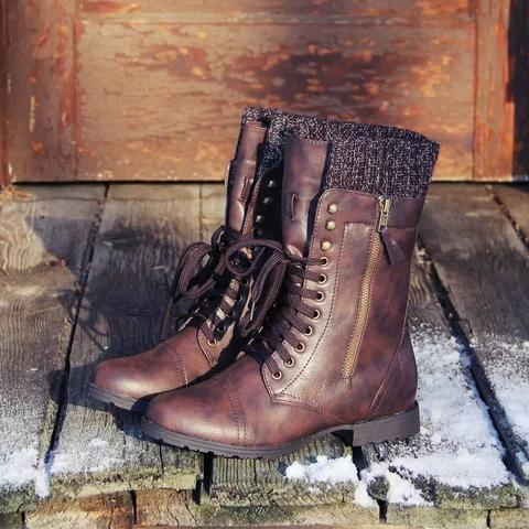 Plus Size Comfort Boots Panel Lace-up Mid-calf Boots