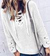 Women Fashion Sweaters Long Sleeve Knit Sweater V-neck Pure Color Sweater Female Casual Plus Size Tops