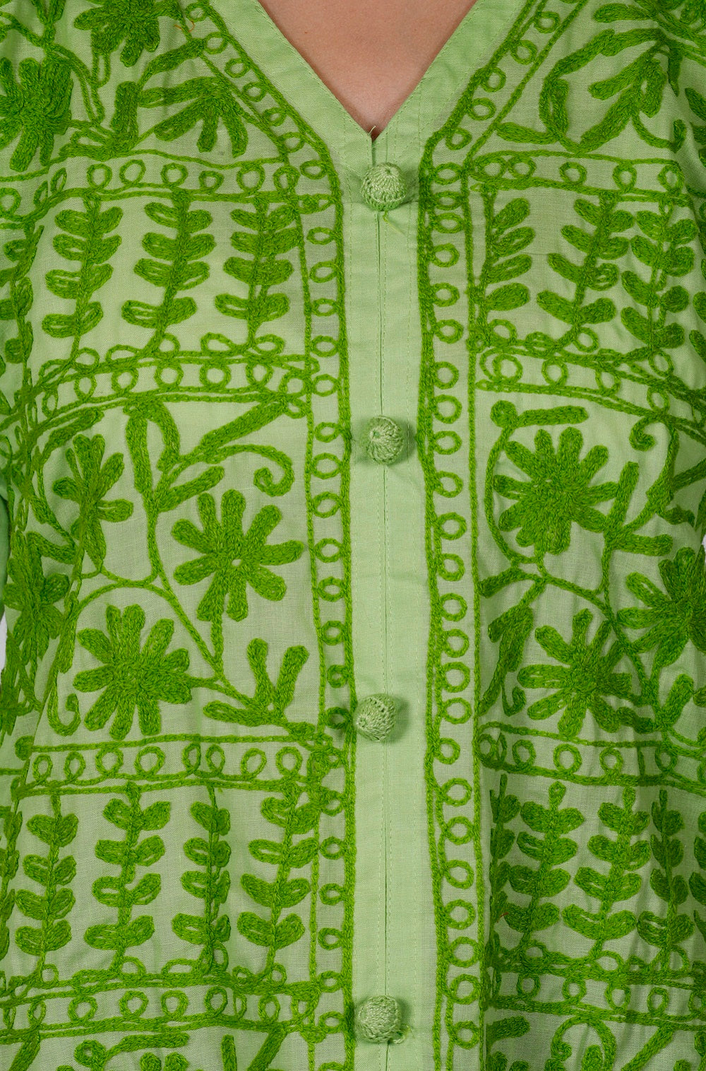 Green Cotton Straight Chikankari Kurti