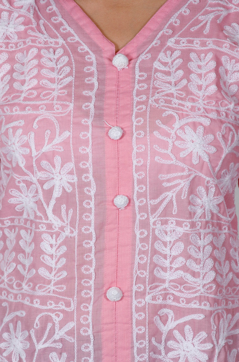 Pink White Cotton Straight Chikankari Kurti