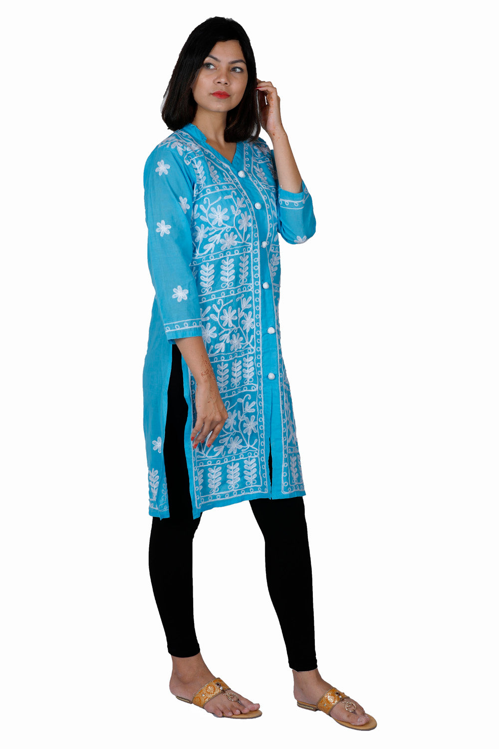 Blue White Cotton Straight Chikankari Kurti