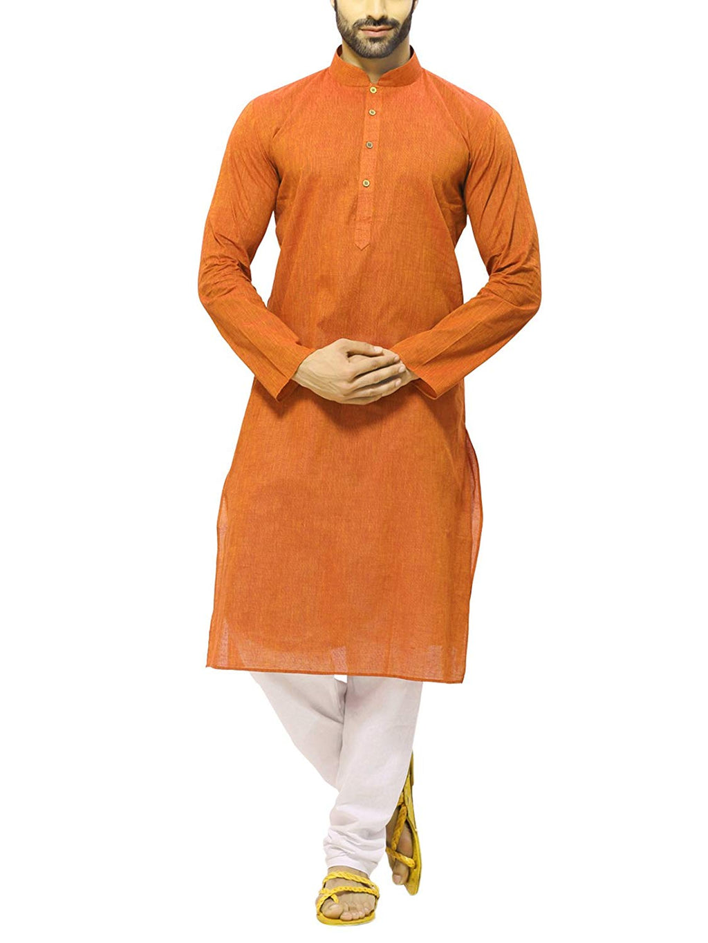 Men's Handloom Orange  Kurta Pyjama