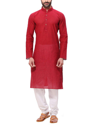 Men's Handloom Red  Kurta Pyjama