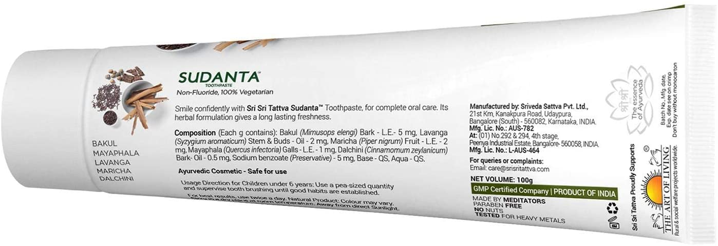 Sudanta 100g Herbal Fluoride-Free, Paraben-Free, Vegan, Natural Toothpaste with Ayurvedic Herbs