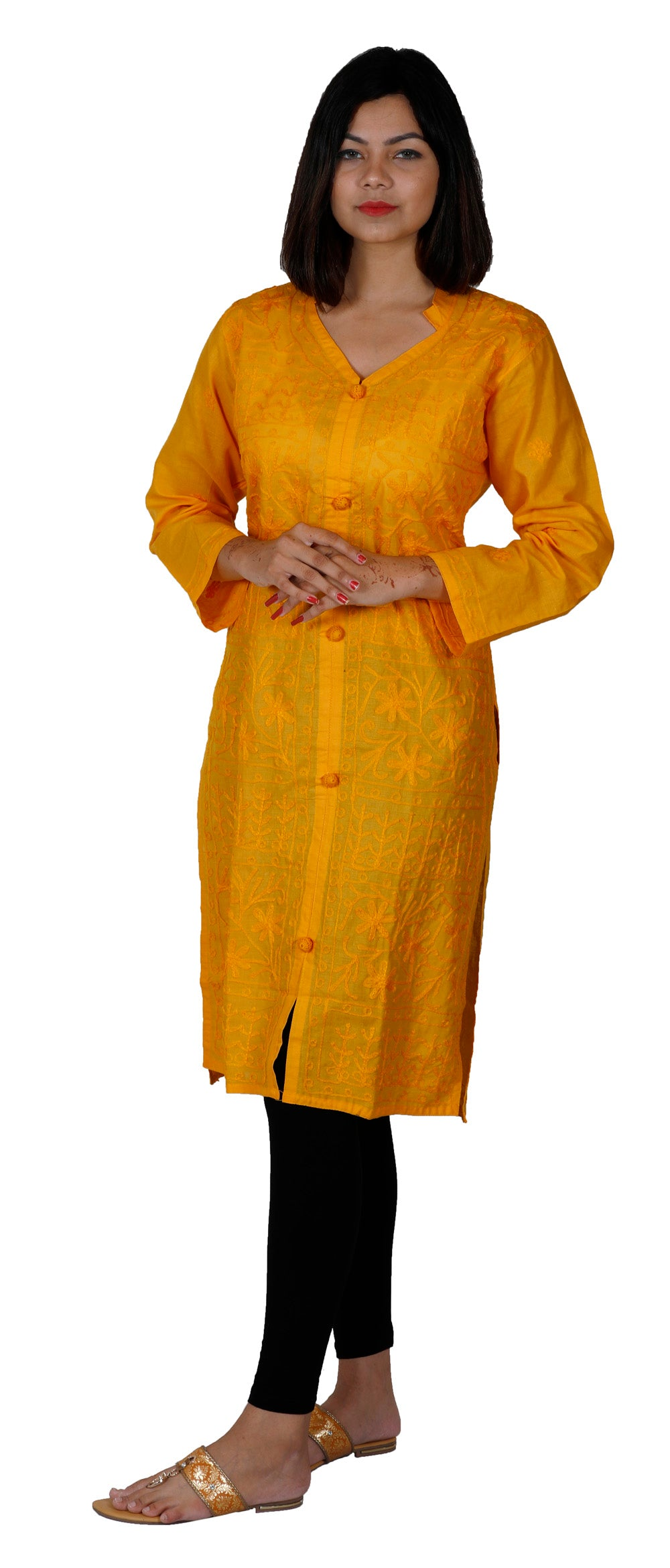 Yellow Cotton Straight Chikankari Kurti