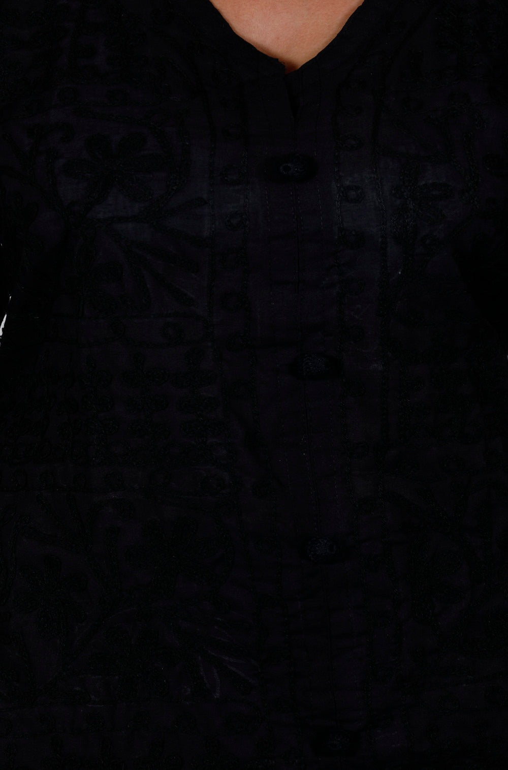 Black Cotton Straight Chikankari Kurti