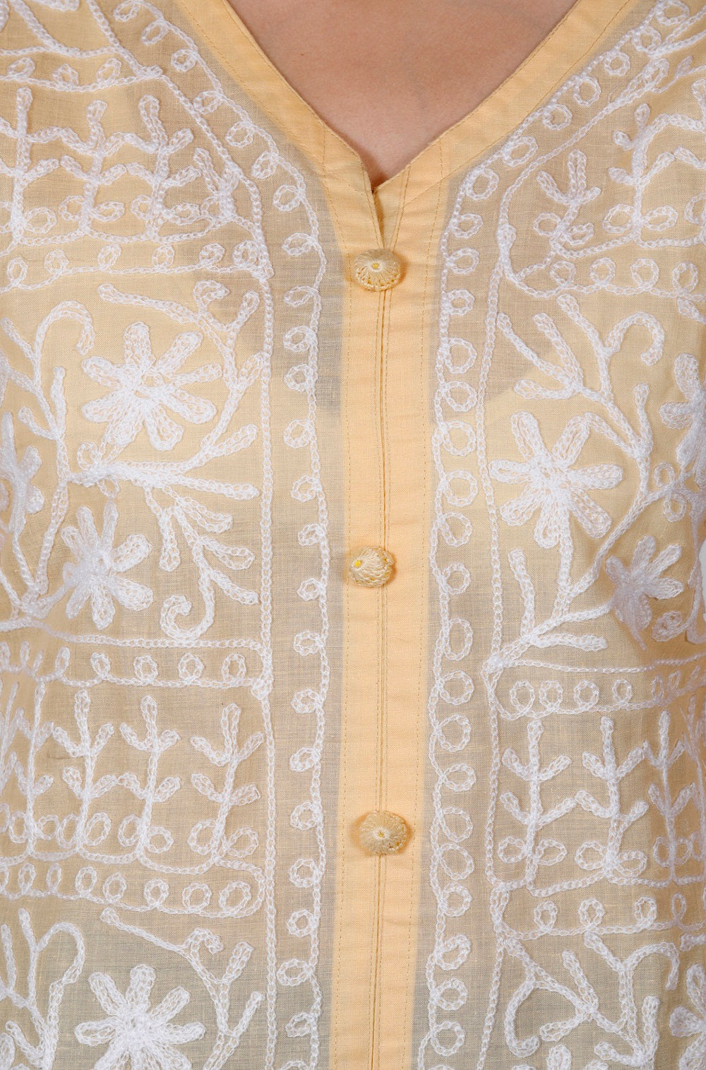 Yellow White Cotton Straight Chikankari Kurti