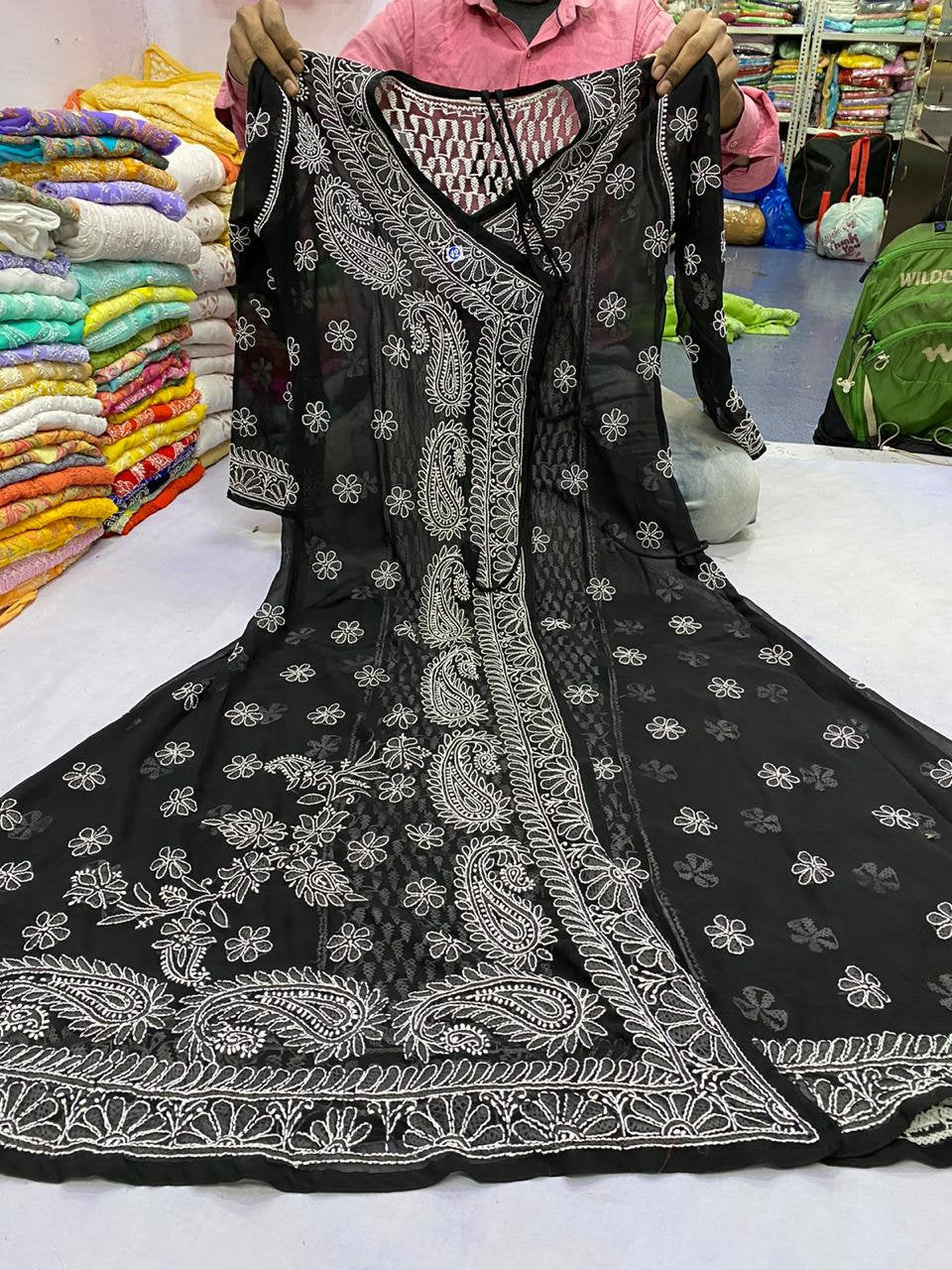 Free Inner Designer Wear Georgette Anarkali kurta And Pants Lucknow chikankari Hand embroidery Ethnic Wear Indian style kurti Kurta