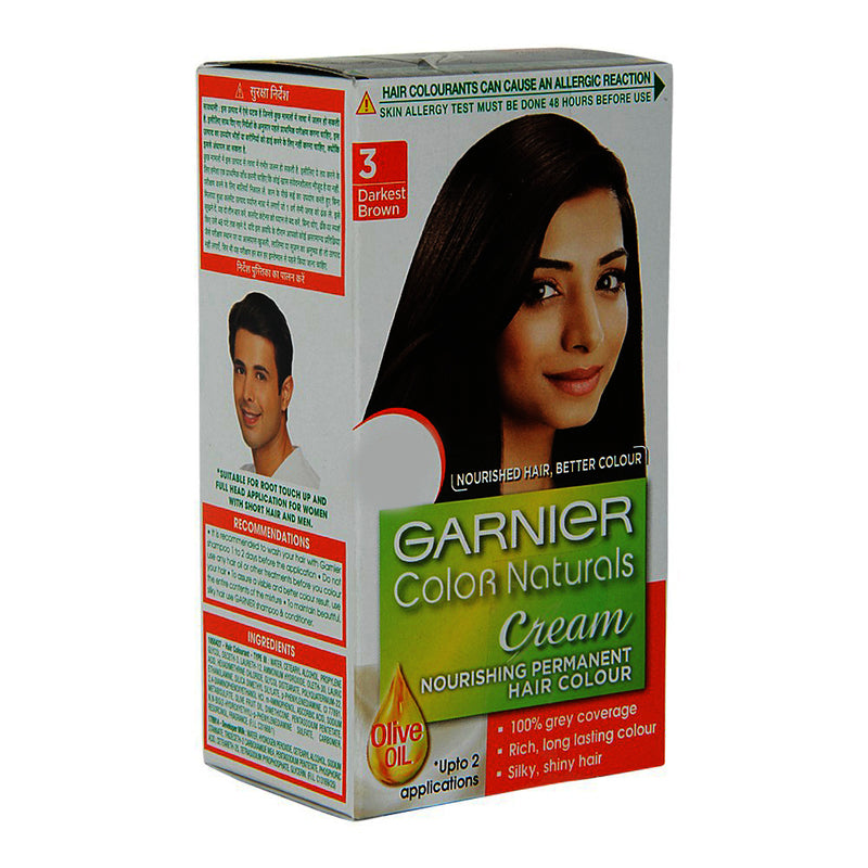 Garnier Colour Natural Darkest Brown Hair Colour Shade No.3, 24 ml + 16 g