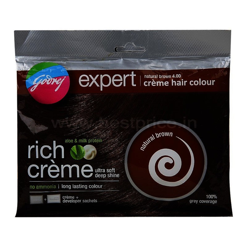 Godrej Expert Crème Natural Brown Hair Colour 20 g + 20 ml