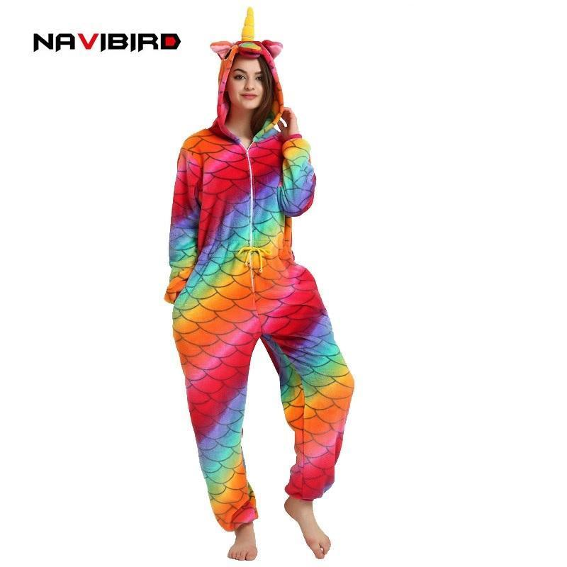 Long Sleeves Flannel Unicorn Onesie Pajama For Women Winter Red Fish-Scale  Pattern Men s Cosplay 81da50b34
