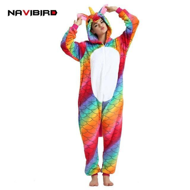 Long Sleeves Flannel Unicorn Onesie Pajama For Women Winter Red Fish-Scale  Pattern Men s Cosplay ae86136b3