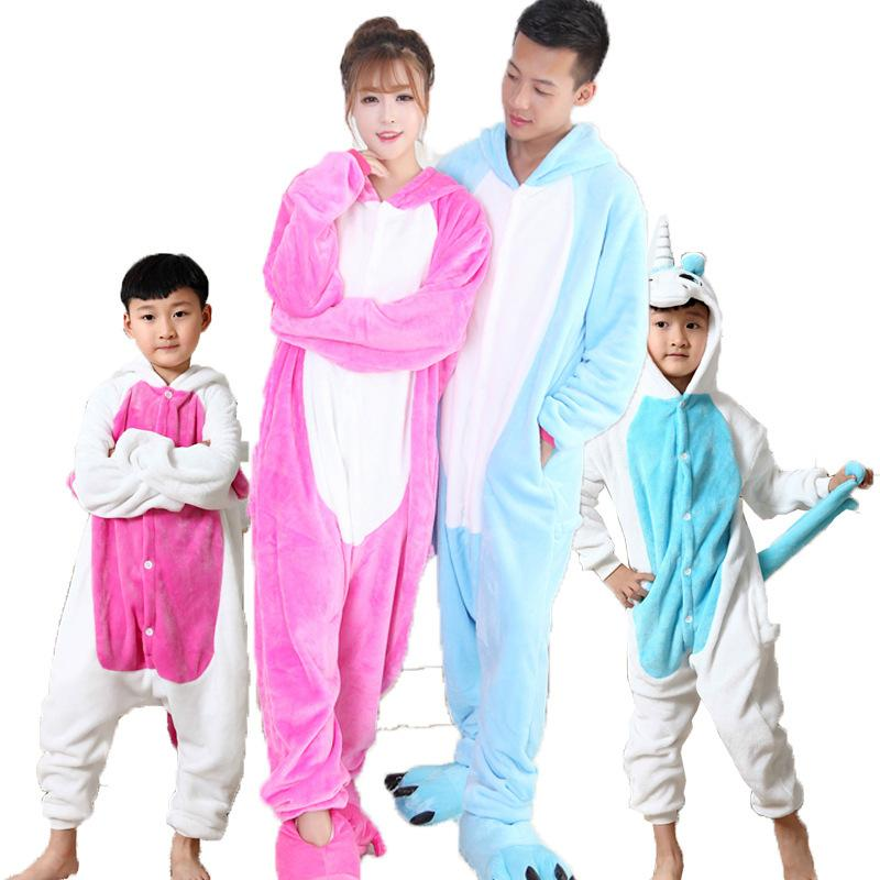 Father Mother Daughter Son Winter Flannel Animal Unicorn Pajamas One Piece  Family Matching Thicken Home Wear fa672de8d