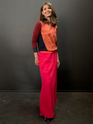 Draped Maxi Column Skirt