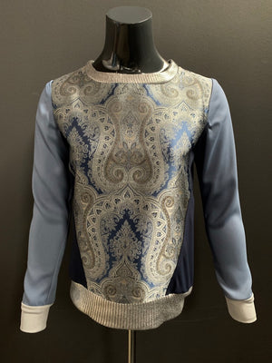 Bespoke Paisley Silk Viscose Techno Stretch Sweatshirt- XS
