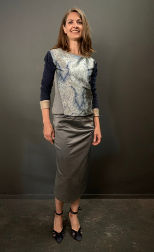 Courtney Metallic Print Jersey Skirt
