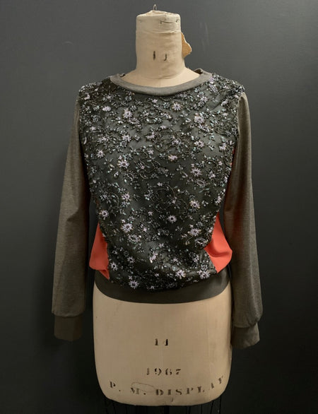 Bespoke Beaded Lace Front Sweatshirt- M