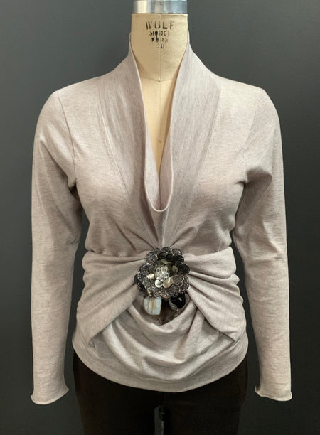 Embellished Tacked Drape Long Sleeve Cowl Neck Top