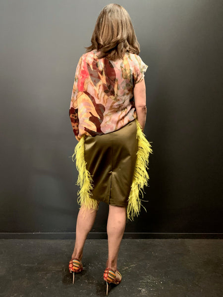 Embossed Feather Skirt