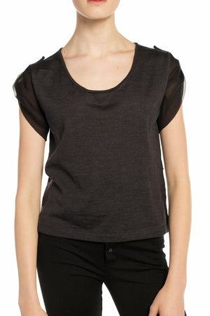 Chiffon Underlay Knit Tee (Also Available in Noir/Ecru)