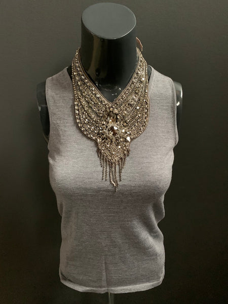 Crystal Fringe Bib Neckpiece (2 backing colour options)