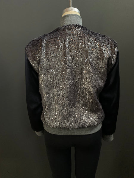 Faux Fur Sequin Bomber Jacket
