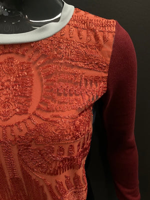 Bespoke Lace Embroidered Rib Jersey Sweateshirt- XS