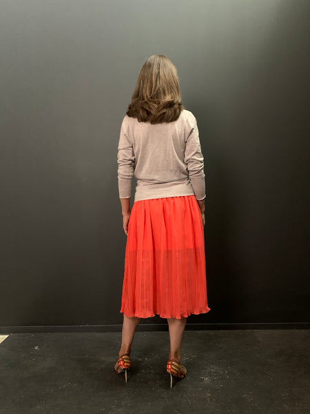 Technical Stretch Silk Flared Pleat Skirt