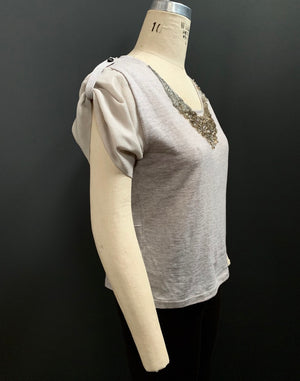 Embellished Chiffon Underlay Knit Tee (Varying Contrast Chiffon Available)
