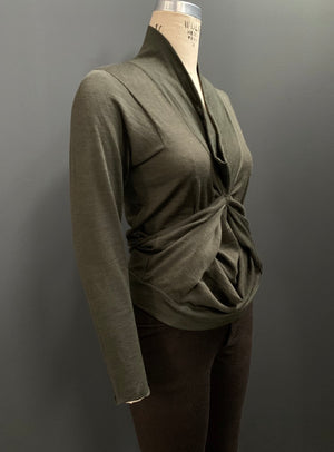 Tacked Drape Long Sleeve Cowl Neck Top (Also Available in Graphite)