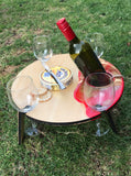 Round folding picnic table - Red and gold