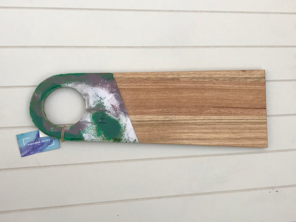 Large resin handle cheeseboard Forest green, brown and white