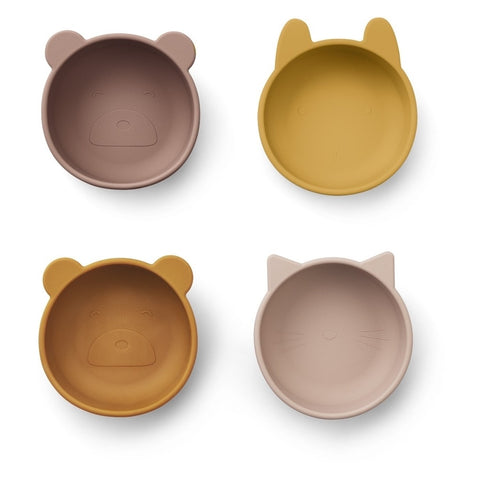 PACK 4 SILICONA BOWLS ROSE MIX