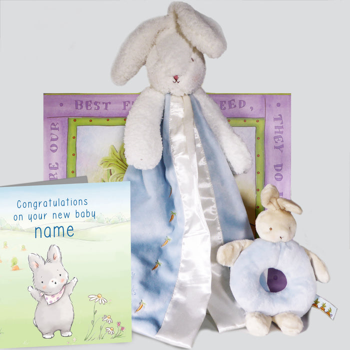 Large Blue Blanket Bunny, Teether and Card Set