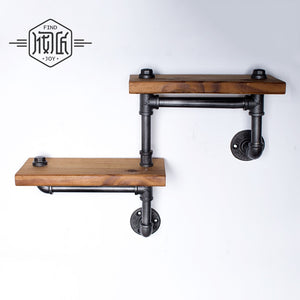 Industrial multi level rustic shelf