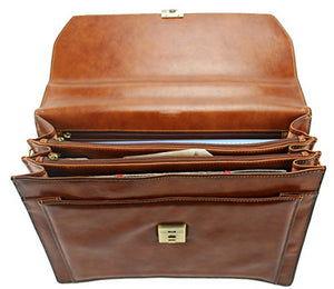 """Cartable"" en cuir lisse (Marron)"