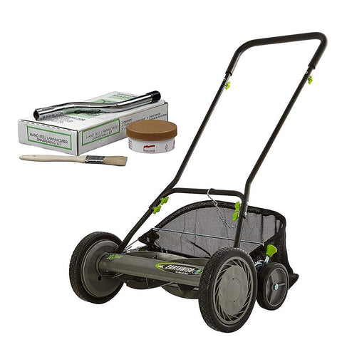 "Earthwise 18"" Manual Reel Mower with Grass Catcher and Sharpening Kit"