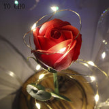 Valentines GIFT for Her - LED Flashing Rose in a Glass - seasonBlack