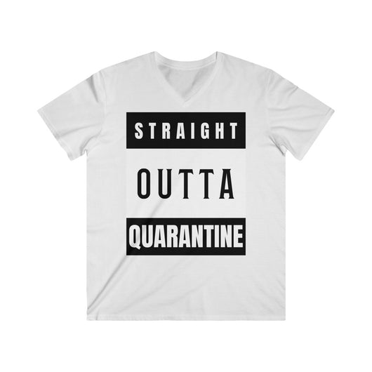 Straight Outta Quarantine V-Neck Tee - seasonBlack