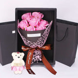Valentine's GIFT for Her - 7 Pcs Rose Flower Bouquet in a Box + Bear - seasonBlack