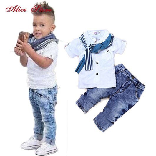 BABY BOY CASUAL CLOTHES  T-SHIRT+SCARF+JEANS