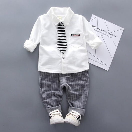 Baby Casual Lapel Long Sleeve Shirt + Pants