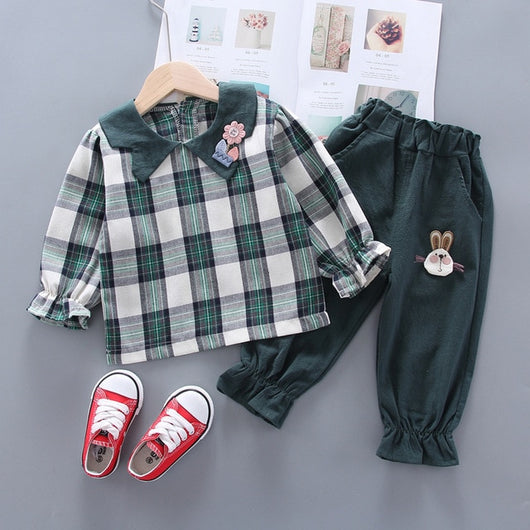 Baby Girl Two Piece Summer Cotton Plaid Long Sleeved Shirts + Pants Clothes