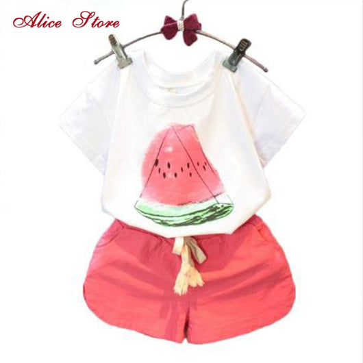 Alice Watermelon Print Girls Clothing Sets